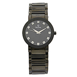 Bulova Stainless Steel Diamond Accented Black Dial Quartz Mens Watch 98D001