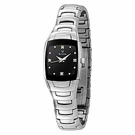Bulova Diamond Black Dial Steel Quartz Ladies Watch 96P15