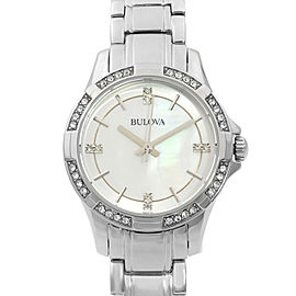 Bulova Crystals Accents Stainless Steel MOP Dial Quartz Womens Watch 96L191