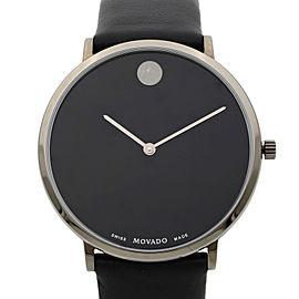 Movado Modern 47 Ultra Slim Black Leather Strap Quartz Ladies Watch 0607391