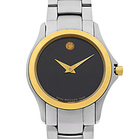 Movado Military Stainless Steel Black Dial Quartz Ladies Watch 0605872