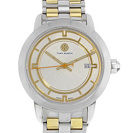 Tory Burch Cream Dial Date Two Tone Steel Quartz Ladies Watch TRB1014