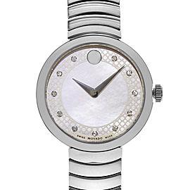Movado Myla White MOP Diamond Dial Steel Quartz Ladies Watch 0607044