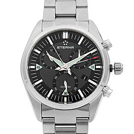 Eterna KonTiki Chronograph Steel Black Grey Quartz Mens Watch 1250.41.41.0217