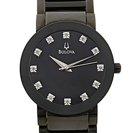 Bulova Stainless Steel Diamond Accented Dial Quartz Mens Watch 98D001