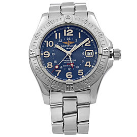 Breitling Colt GMT Steel Blue Concentric Arabic Dial Automatic Mens Watch A32350