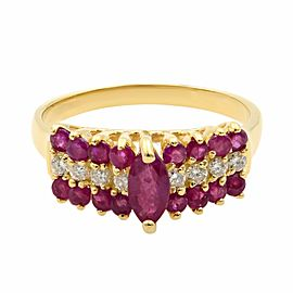 Rachel Koen 14K Yellow Gold Ruby and Diamonds Anniversary Ring Size 6