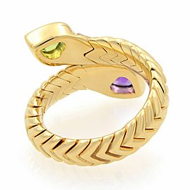 Bvlgari 18k Yellow Gold Diamond Spiga Amethyst and Peridot Bypass Ring Size 6