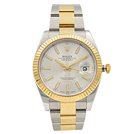 Rolex Datejust 41 Steel 18K Gold Silver Index Dial Automatic Mens Watch 126333