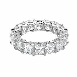 Rachel Koen Platinum Cushion Cut Diamond Eternity Band 9.99cttw Size 5.5