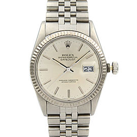 Rolex Datejust 36mm Steel 18K White Gold Silver Dial Automatic Mens Watch 16014