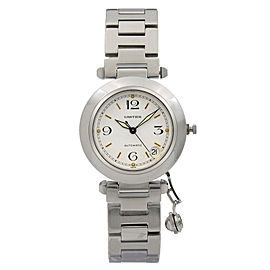 Cartier Pasha 35mm Stainless Steel White Dial Automatic Midsize Watch 1031