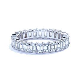 Platinum 3.25cts Eternity Emerald Cut Diamond Anniversary Ladies Ring Band 6.5