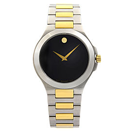 Movado Museum Two Tone Steel Black Dial Quartz Mens Watch 0606181