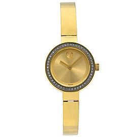Movado Bold Steel Champagne Museum Dial Diamond Quartz Ladies Watch 3600322