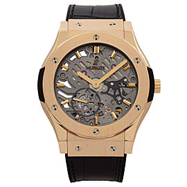 Hublot Classic Fusion 18K Rose Gold Skeleton Dial Hand Wind Watch 545.OX.0180.LR