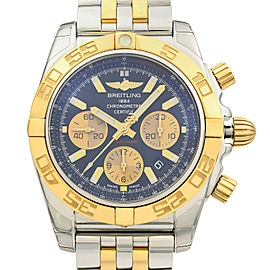 Breitling Chronomat Steel 18K Yellow Gold Black Dial Watch CB011012/B968-357C