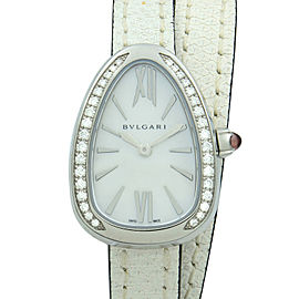 Bvlgari Serpenti Steel Leather White MOP Dial Diamond Quartz Ladies Watch 102781