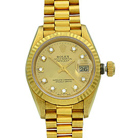 Rolex Datejust 18K Gold Champagne Diamond Dial President Ladies Watch 69178G