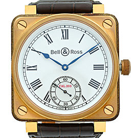 Bell & Ross Instrument De Marine Bronze Wood Manual Wind Watch BR01-CM-203