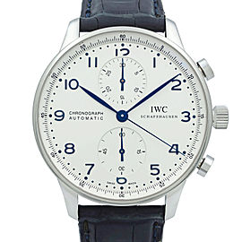 IWC Portugueser Chronograph Steel Silver Dial Automatic Mens Watch IW371446