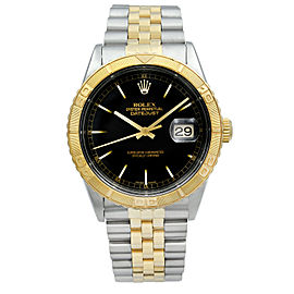 Rolex Datejust 36mm TurnOGraph Steel 18K Yellow Gold Black Dial Mens Watch 16263