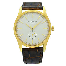 Patek Philippe Calatrava 18K Gold Silver Dial Hand-Wind Mens Watch 5196J-001