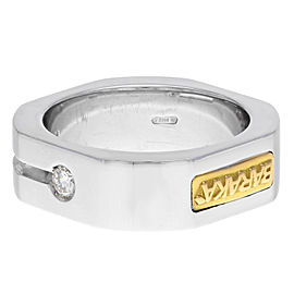 Baraka 18K White Gold Round Cut Diamond Wedding Band Men's Ring 0.05 Size 7
