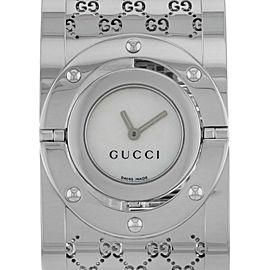 Gucci Series 112 Twirl Bangle Style Wide White MOP Dial Ladies Watch YA112413