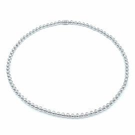 Cartier 18K White Gold Diamond Bead Bezels Ladies Tennis Necklace 4.26Cttw