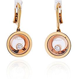 Chopard 18K Rose Gold Happy Diamond Earrings 0.20cttw