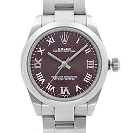 Rolex Oyster Perpetual No-Date 31mm Steel Grape Dial Ladies Watch 177200GR