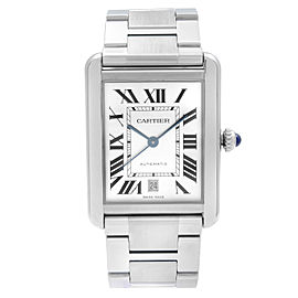 Cartier Tank Solo XL Stainless Steel Silver Dial Automatic Mens Watch W5200028