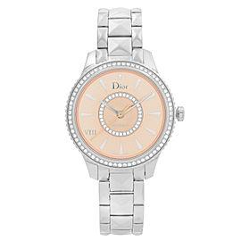 Christian Dior VIII Montaigne Steel Diamond Pink Dial Ladies Watch CD152510M002