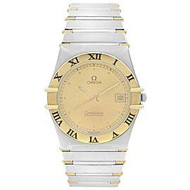 Omega Constellation 1431 18k Gold Steel Champagne Dial Quartz Men Watch 398.0876