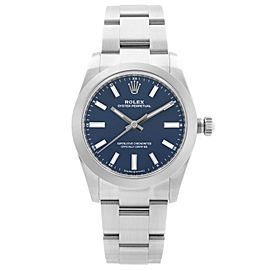 Rolex Oyster Perpetual 34mm Steel Blue Dial Automatic Midsize Watch 124200