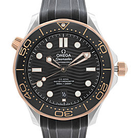 Omega Seamaster 300M Gold Steel Black Dial Automatic Watch 210.22.42.20.01.002