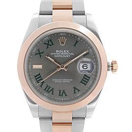 Rolex Datejust 41 Steel 18K Rose Gold Wimbledon Roman Dial Mens Watch 126301
