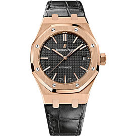 Audemars Piguet Royal Oak 15450OR.OO.D002CR.01 18K Pink Gold / Leather 37mm Mens Watch