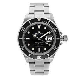 Rolex Submariner Date Holes Steel None Ceramic Black Dial Mens Watch 16610