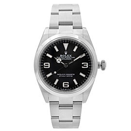 Rolex Explorer 36mm Stainless Steel Black Dial Automatic Mens Watch 124270