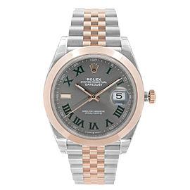 Rolex Datejust 41 Steel 18K Rose Gold Wimbledon Dial Automatic Mens Watch 126301