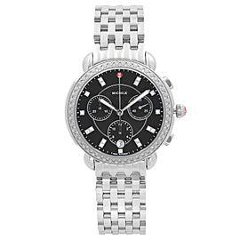 Michele Sidney Diamond Bezel Steel Black Dial Quartz Ladies Watch MWW30A000034