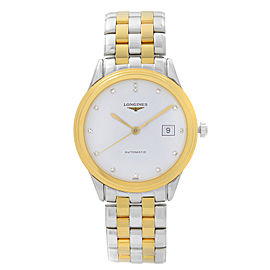 Longines Flagship Steel Gold White Diamond Dial Automatic Watch L4.874.3.27.7