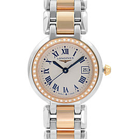 Longines PrimaLuna 18k Gold Steel DIamond Cream Dial Ladies Watch L8.110.5.79.6