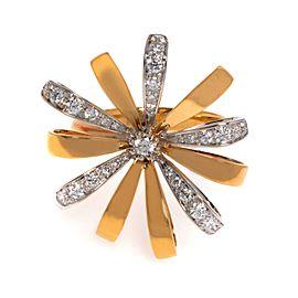 Luca Carati 18K Yellow & White Gold Diamond Cocktail Ring 0.62Cttw Size 7