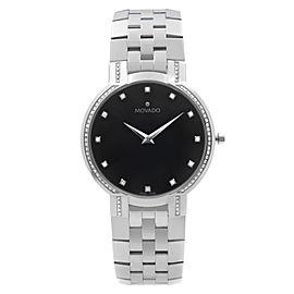 Movado Faceto 38mm Diamonds Stainless Steel Black Dial Quartz Mens Watch 0606237