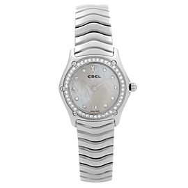 Ebel Classic Wave Steel MOP Dial Diamond Bezel Ladies Quartz Watch 9090F24-9725