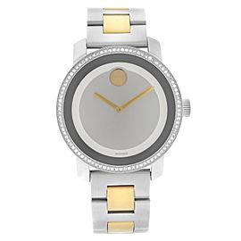Movado Bold 36mm Two-Tone Steel Diamonds Silver Dial Quartz Ladies Watch 3600451