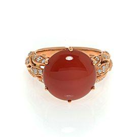 Luca Carati 18K Rose Gold Red Agate Diamond Ring 0.34Cttw Size 7.5